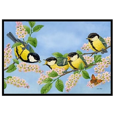 Caroline's Treasures Great Tit Family of Birds Doormat; 2' x 3'