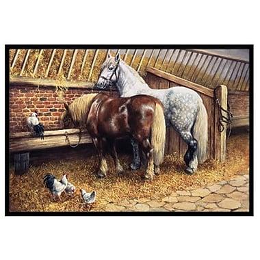 Caroline's Treasures Horses Eating w/ the Chickens Doormat; 2' x 3'