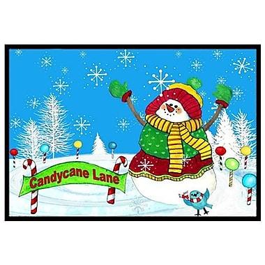 Caroline's Treasures Candy Cane Lane Snowman Doormat; 2' x 3'