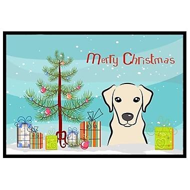 Caroline's Treasures Christmas Tree and Yellow Labrador Doormat; 2' x 3'