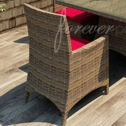 Forever Patio Cypress Patio Dining Chair w/ Cushion; Flagship Ruby / Canvas Bay Brown Welt