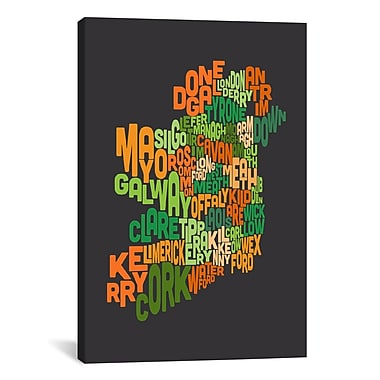 iCanvas ''Text Map of Ireland'' by Michael Tompsett Graphic Art on Wrapped Canvas