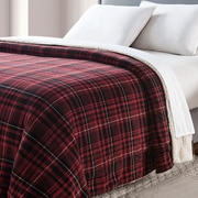 VCNY Durham Plaid Printed Sherpa Reversible Blanket; Full/Queen