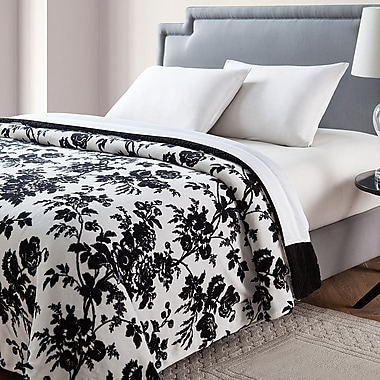 VCNY Floral Giverny Printed Sherpa Reversible Blanket; Full/Queen