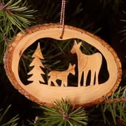 CarversArt Deer Famly Tree Bark Ornament