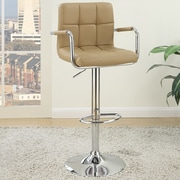 Poundex Adjustable Height Swivel Bar Stool (Set of 2); Brown
