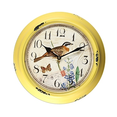 AdecoTrading 11.8'' Circular Bird and Flower Detail Wall Hanging Clock