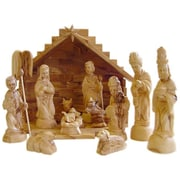 CarversArt Traditional Olive Wood Nativity Set w/ Stable