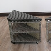 Wicked Wicker Mishka Side Table (Set of 2); Deep Brown / Taupe