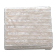 De Moocci Plush Stripped Throw Blanket; Cream