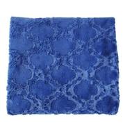 De Moocci Plush Quatrefoil Throw; Dark Blue