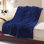 De Moocci Velvet Quilted Throw Blanket; Dark Blue