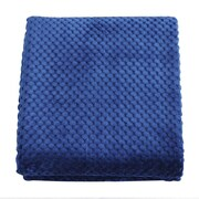 De Moocci Plush Jacquard Throw Blanket; Dark Blue