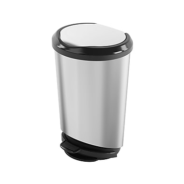 Kis Tondo Series Step-On Waste, 43.5L, Plastic Stainless Steel Finish, (29052F)