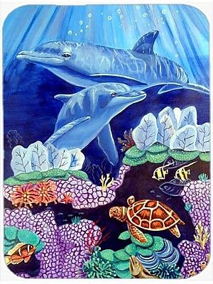 Caroline's Treasures Dolphin under the Sea Glass Cutting Board WYF078278740126