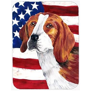 Caroline's Treasures Patriotic USA American Flag w/ Beagle Glass Cutting Board