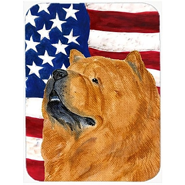 Caroline's Treasures Patriotic USA American Flag w/ Chow Chow Glass Cutting Board