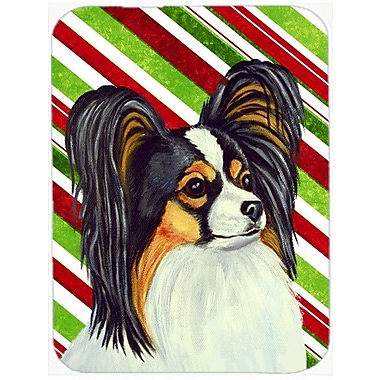 Caroline's Treasures Papillon Candy Cane Holiday Christmas Glass Cutting Board