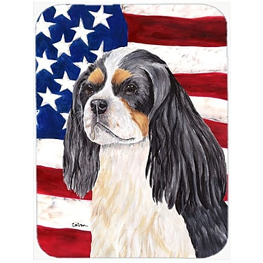 Caroline's Treasures Patriotic USA American Flag w/ Cavalier Spaniel Glass Cutting Board