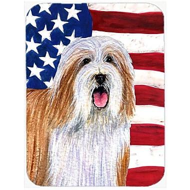 Caroline's Treasures Patriotic USA American Flag w/ Bearded Collie Glass Cutting Board