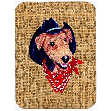 Caroline's Treasures Airedale Dog Country Lucky Horseshoe Glass Cutting Board
