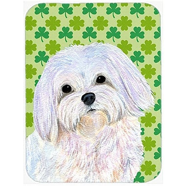 Caroline's Treasures Shamrock Lucky Irish Maltese St. Patrick's Day Portrait Glass Cutting Board