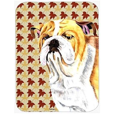 Caroline's Treasures Fall Leaves English Bulldog Portrait Glass Cutting Board