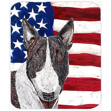 Caroline's Treasures Patriotic Bull Terrier USA American Flag Glass Cutting Board
