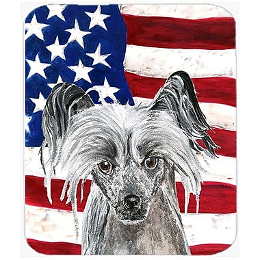 Caroline's Treasures Patriotic Chinese Crested USA American Flag Glass Cutting Board