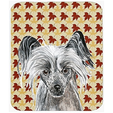 Caroline's Treasures Fall Leaves Chinese Crested Glass Cutting Board