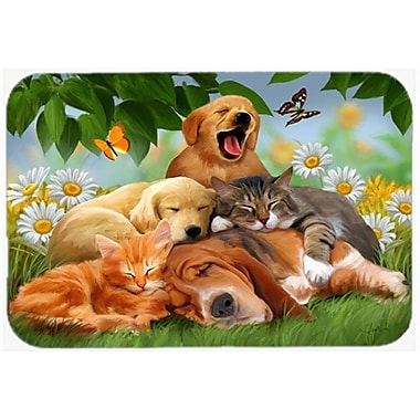 Caroline's Treasures Golden Retriever, Labrador and Basset Hound Sleepy Heads Glass Cutting Board