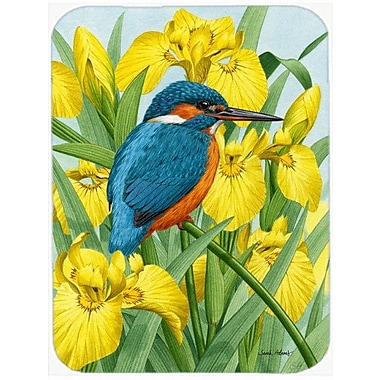 Caroline's Treasures Kingfisher in Irises Glass Cutting Board