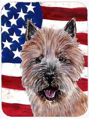 Caroline's Treasures Patriotic Norwich Terrier w/ American Flag USA Glass Cutting Board