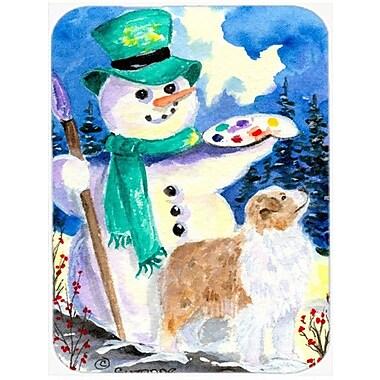 Caroline's Treasures Snowman w/ Australian Shepherd Glass Cutting Board