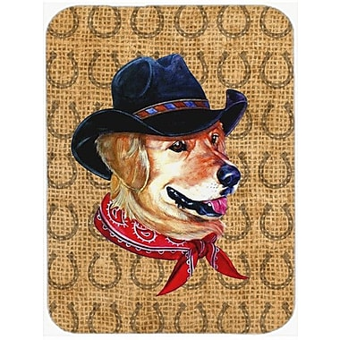 Caroline's Treasures Golden Retriever Dog Country Lucky Horseshoe Glass Cutting Board