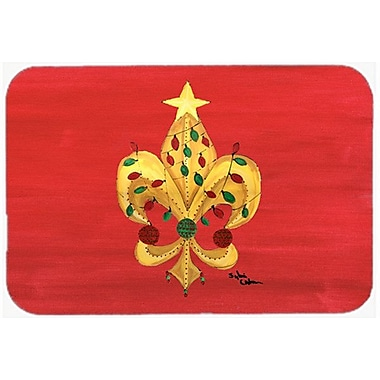 Caroline's Treasures Fleur de lis Christmas Tree w/ Lights Glass Cutting Board