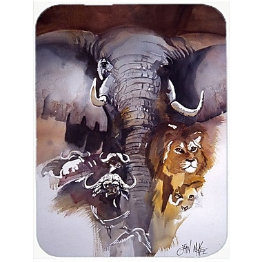 Caroline's Treasures Elephant, Lions and More Glass Cutting Board