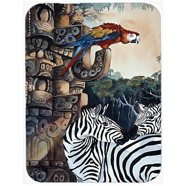 Caroline's Treasures Zebras and Parrots Glass Cutting Board