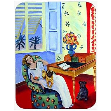 Caroline's Treasures Lady w/ Her Pug Glass Cutting Board