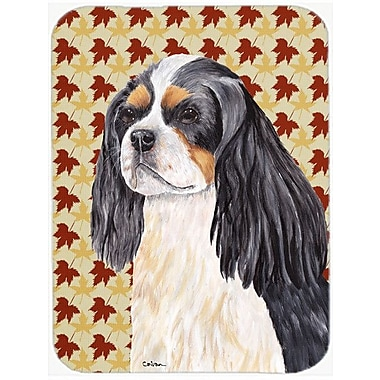 Caroline's Treasures Fall Leaves Cavalier Spaniel Portrait Glass Cutting Board
