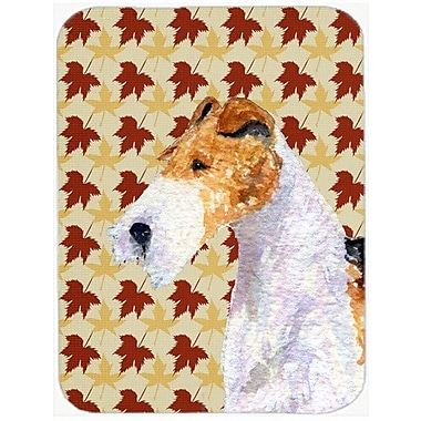 Caroline's Treasures Fall Leaves Fox Terrier Portrait Glass Cutting Board