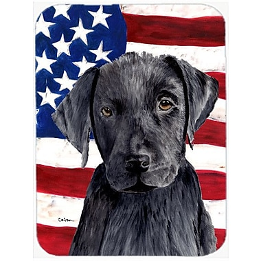 Caroline's Treasures Patriotic USA American Flag w/ Labrador Glass Cutting Board