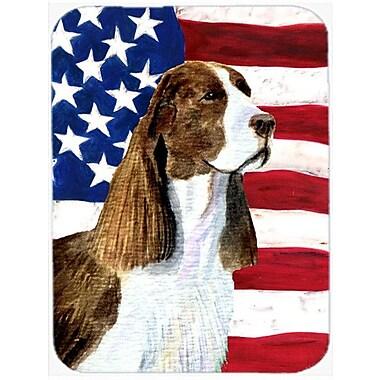 Caroline's Treasures Patriotic USA American Flag w/ Springer Spaniel Glass Cutting Board