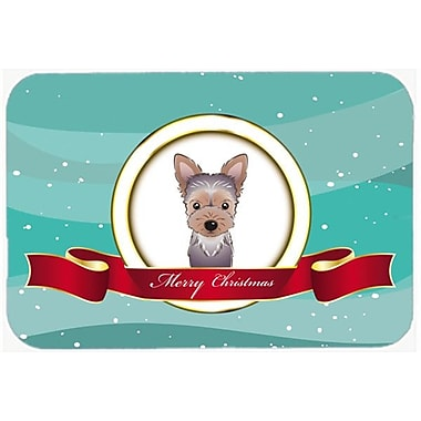 Caroline's Treasures Yorkie Puppy Merry Christmas Glass Cutting Board