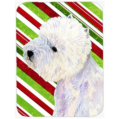Caroline's Treasures Westie Candy Cane Holiday Christmas Glass Cutting Board