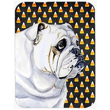 Caroline's Treasures Halloween Candy Corn Bulldog English Portrait Glass Cutting Board