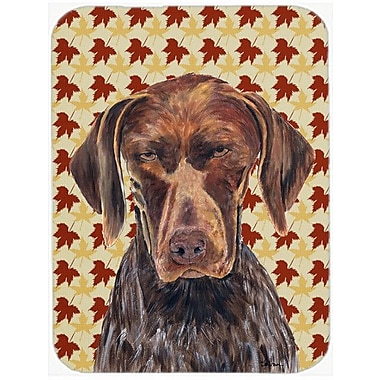 Caroline's Treasures Fall Leaves German Shorthaired Pointer Portrait Glass Cutting Board