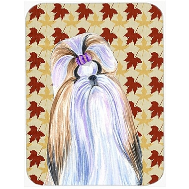 Caroline's Treasures Fall Leaves Shih Tzu Portrait Glass Cutting Board