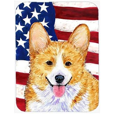 Caroline's Treasures Patriotic USA American Flag w/ Corgi Glass Cutting Board