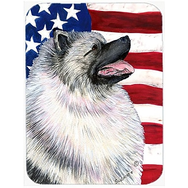 Caroline's Treasures Patriotic USA American Flag w/ Keeshond Glass Cutting Board